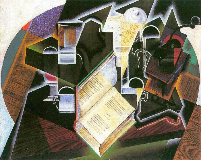 Csendélet könyvvel, pipával és üvegekkel, Juan Gris