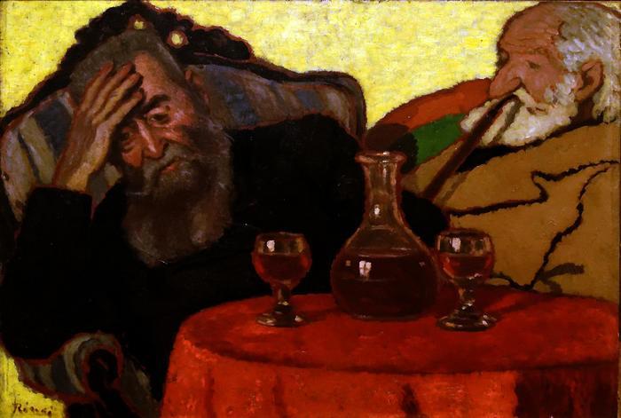 Apám és Piacsek bácsi vörösbor mellett (1907), Rippl Rónai József