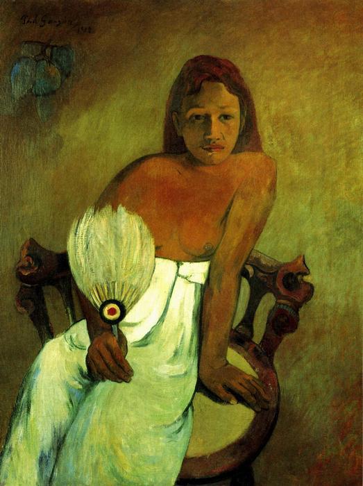 Fiatal nő legyezővel, Paul Gauguin