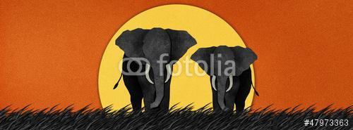 Elephant az újrahasznosított papír hátteréből, Premium Kollekció