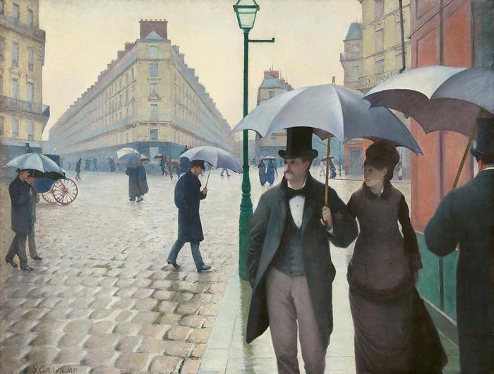 Párizsi utca esős időben - Színverzió 1., Gustave Caillebotte