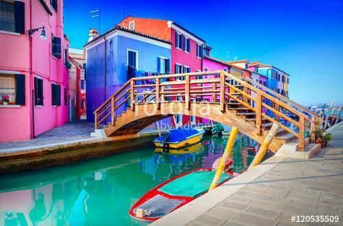 Színes ház Burano, Velence, Olaszország, Premium Kollekció