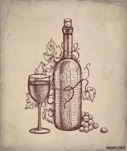 borosüveg és pohár ceruza rajza régies háttérrel, Premium Kollekció