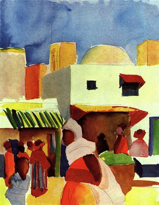 Piac Algírban, August Macke