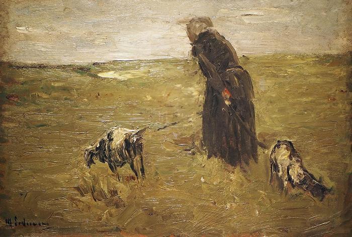 Öregasszony és kecskéi (tanulmány), Max Liebermann
