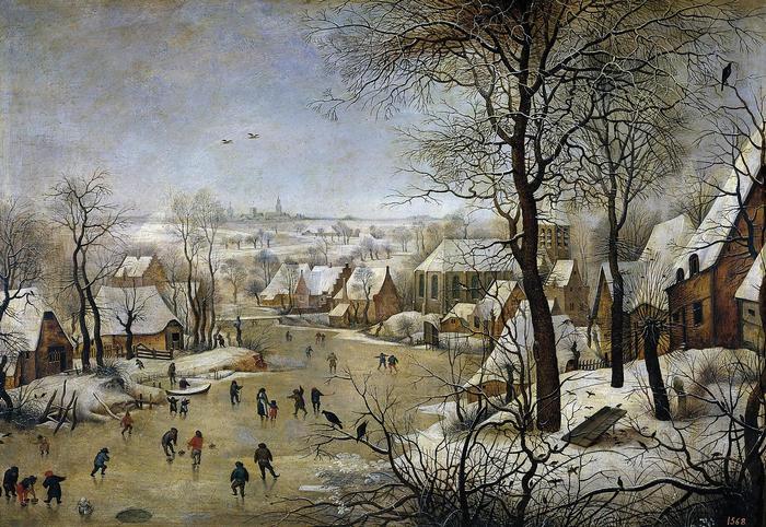 Téli tájkép korcsolyázókkal és madárcsapdával, Pieter Bruegel the Elder