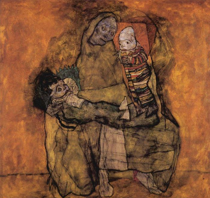 Anya két gyermekével, Egon Schiele