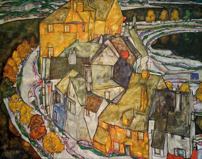 Házak félholdja II, Egon Schiele