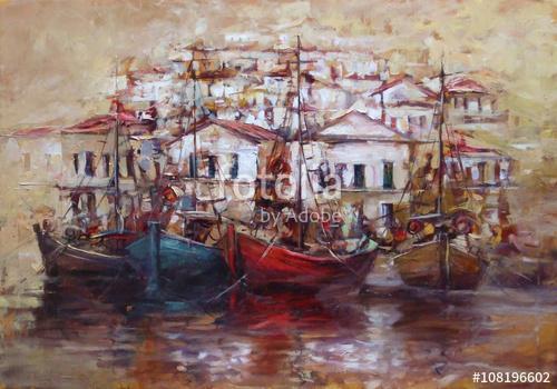 Csónakok a sziget kikötőjén, kézzel készített festészet, Premium Kollekció