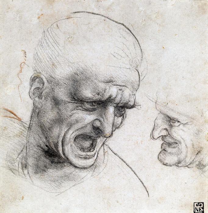 Harcosok feje, tanulmány - színverzió 1., Leonardo da Vinci