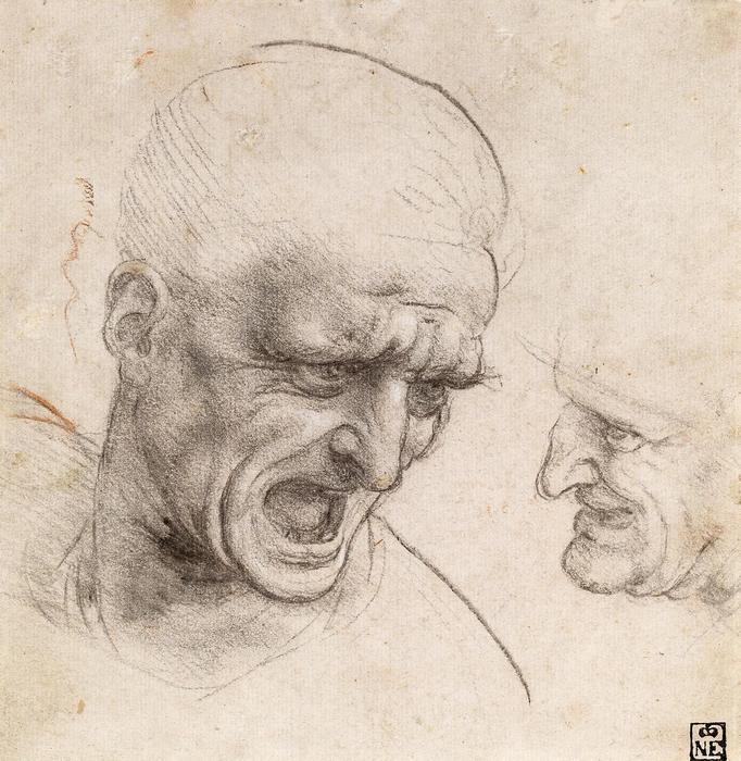 Harcosok feje, tanulmány, Leonardo da Vinci