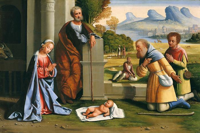 A pásztorok köszöntik a kis Jézust, Giovanni Battista Benvenuti