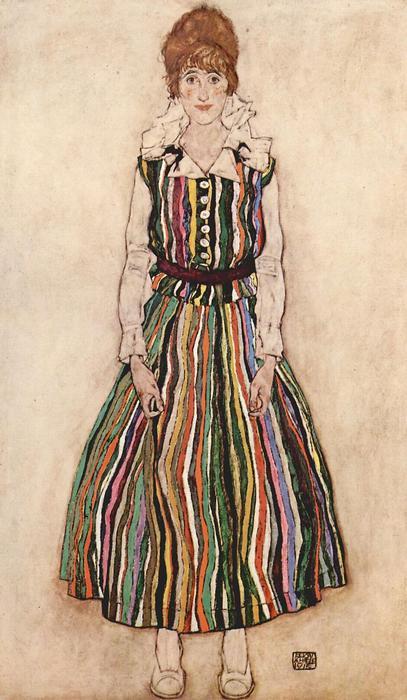 Edith Schiele portréja csíkos ruhában, Egon Schiele