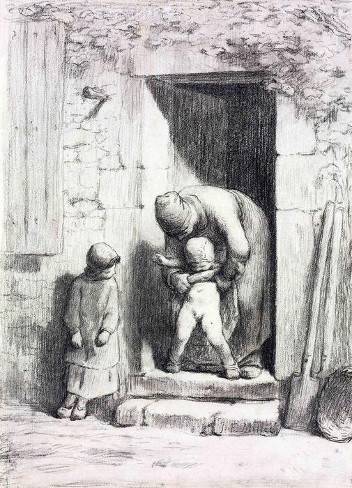 Anyai gondoskodás- színverzió 1., Jean-François Millet