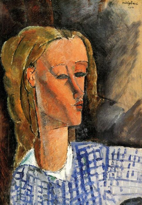 Beatrice Hastings portéja kék fehér blúzban, Modigliani