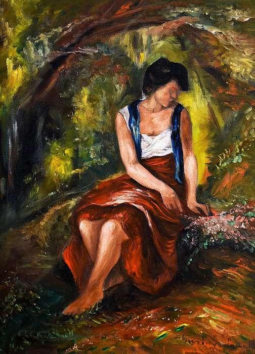 Lány virágcsokorral, Iványi-Grünwald Béla