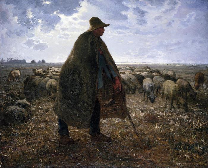 Juhász a botjára támaszkodva - színverzió 1., Jean-François Millet