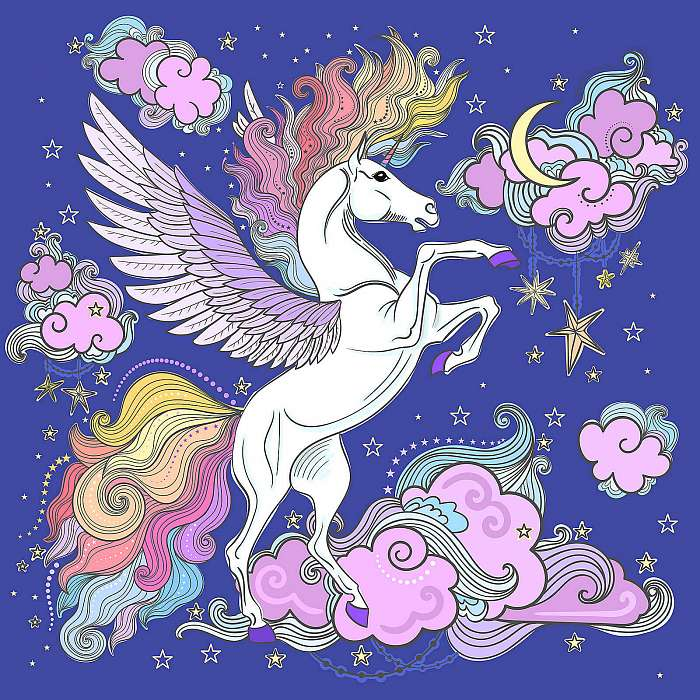A beautiful unicorn among the clouds and stars. hand-drawn. Vector, Premium Kollekció