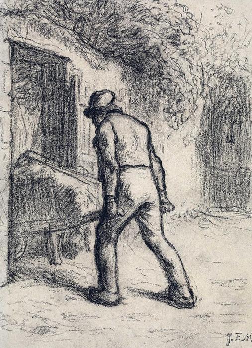 Talicskát toló férfi (tanulámy) - színverzió 1., Jean-François Millet