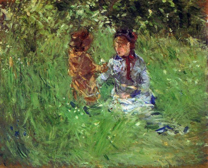 Nő gyerekkel a kertben, Bougival-ban, Berthe Morisot