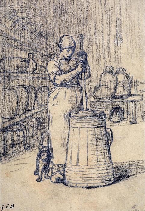 Vajköpülő asszony (tanulmány, részlet) - színverzió 1., Jean-François Millet