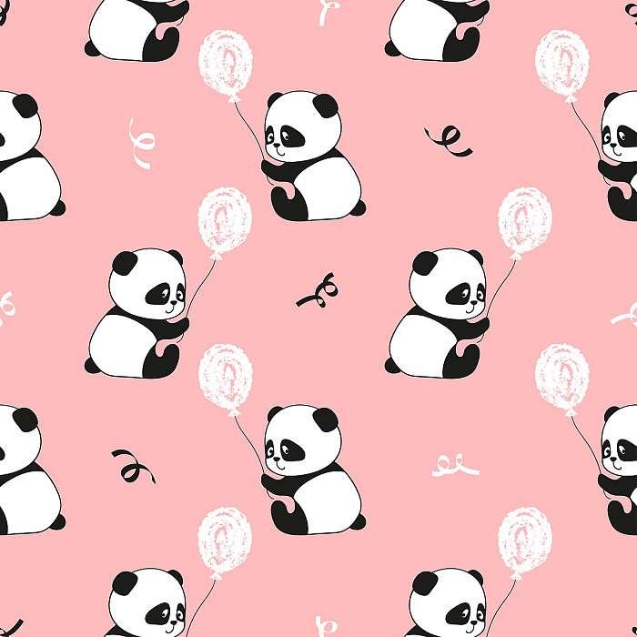 Aranyos panda medve és léggömb zökkenőmentes mintát. Vektor gyer, Premium Kollekció