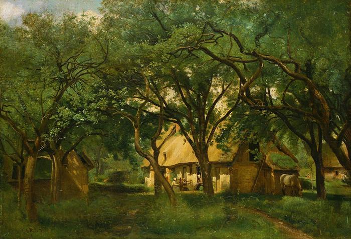 A Toutain farm, Honfleur-nél, Jean-Baptiste Camille Corot
