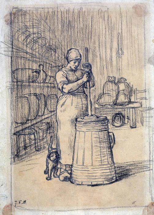 Vajköpülő asszony (tanulmány) - színverzió 1., Jean-François Millet