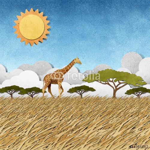 Zsiráf Safari területén újrahasznosított papír háttér, Premium Kollekció
