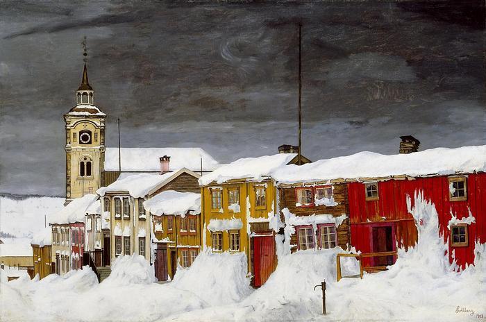 Téli utca Rorosban, Harald Sohlberg