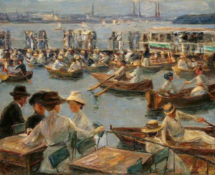 Csónakázók az Alster-folyón Hamburgnál (1910), Max Liebermann
