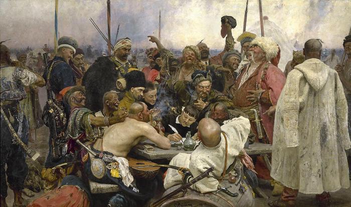 A zaporizzsjai kozákok levelet írnak a török szultánnak, Ilja Jefimovics Repin