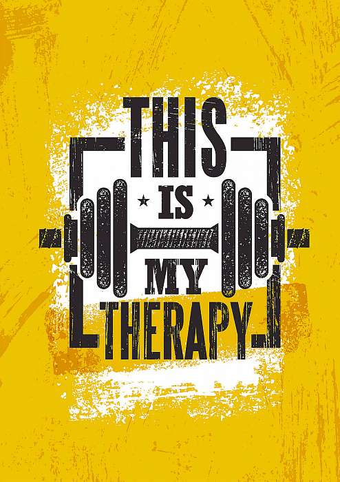This Is My Therapy. Fitness Muscle Workout Motivation Quote Poster Vector Concept. Inspiring Gym Creative Illustration, Premium Kollekció
