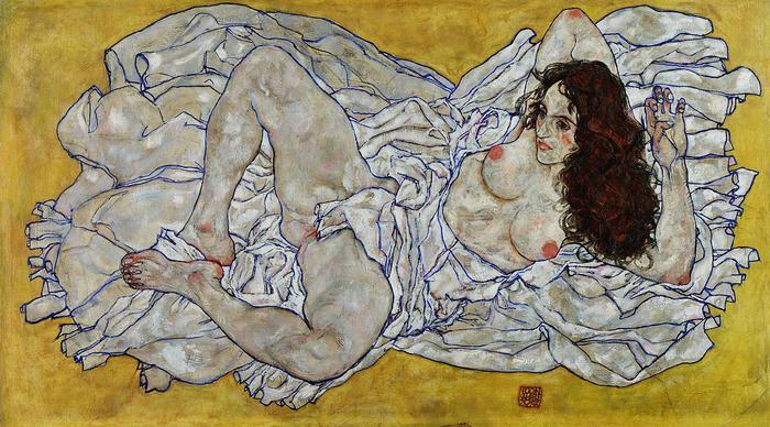 Fekvő női akt, Egon Schiele