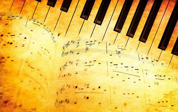 Zongora billentyűzet és zenei lemezek vintage stílusban, Premium Kollekció