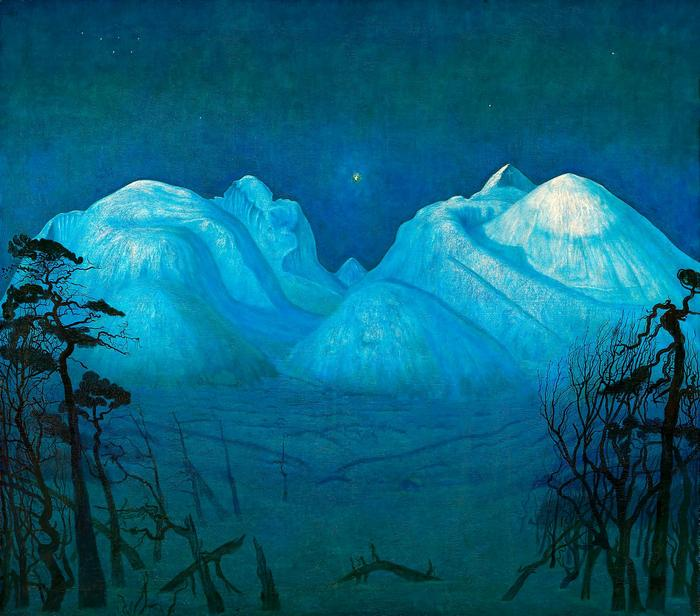 Téli este a hegyekben - színverzió 1., Harald Sohlberg