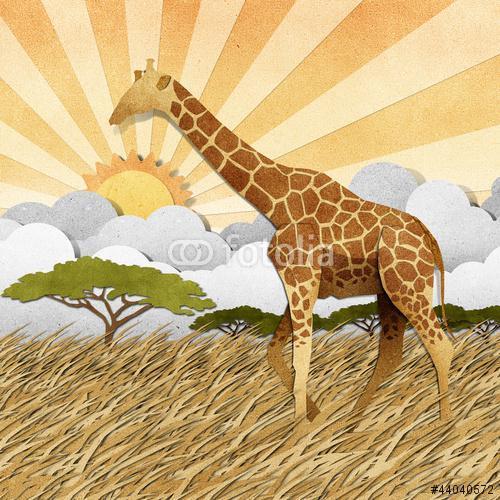 Zsiráf Safari területen újrahasznosított papír háttér, Premium Kollekció