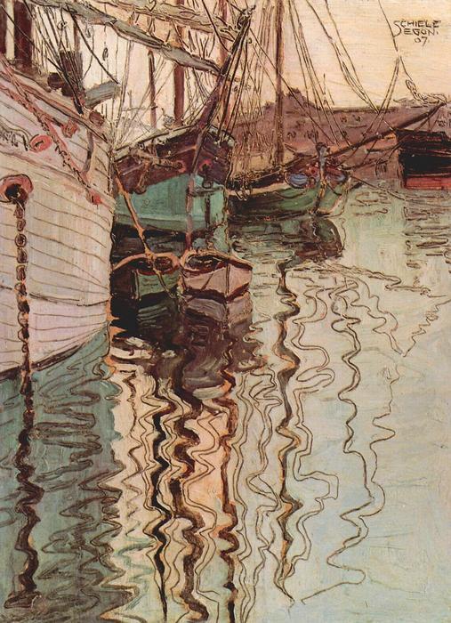 Vitorlások a hullámzó vízban (A Trieszt-i kikötő), Egon Schiele