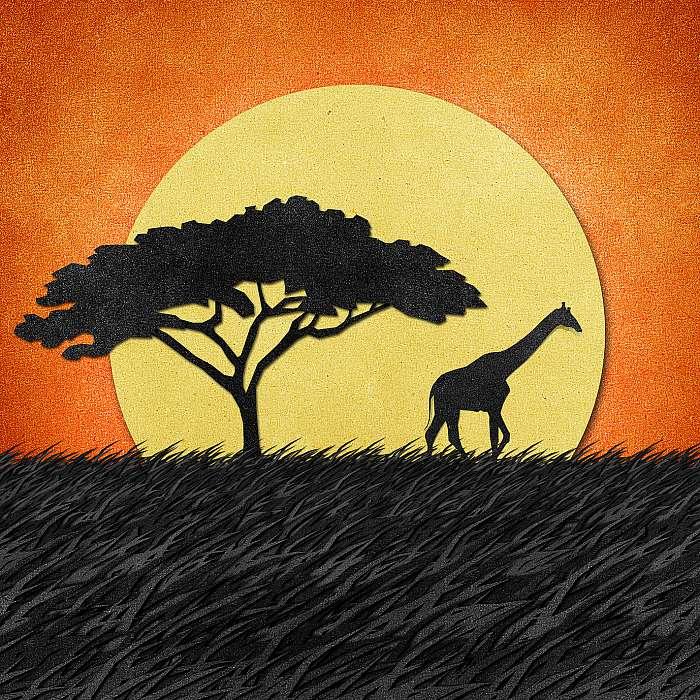 Zsiráf Safari területén az újrahasznosított papír hátterében, Premium Kollekció