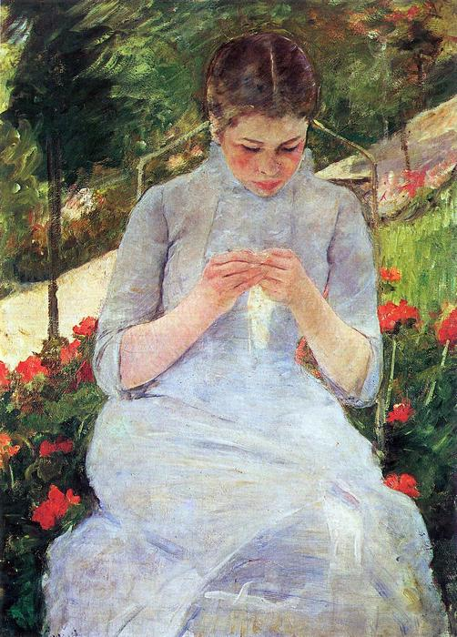A kertben varró fiatal lány, Mary Cassatt