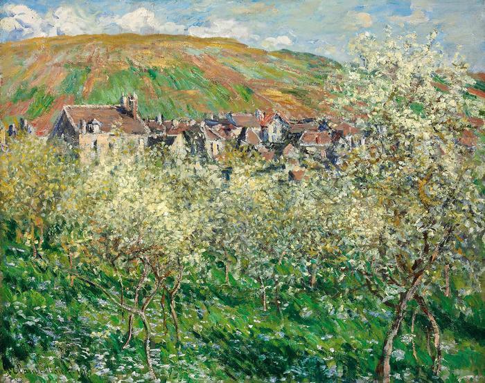 Virágzó szilvafák (1879), Claude Monet