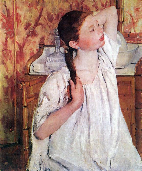 Haját igazító lány, Mary Cassatt
