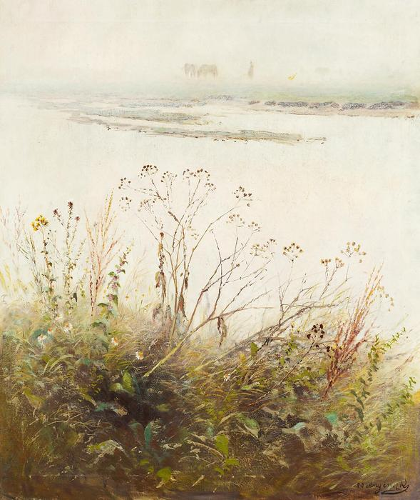 Kiáradt folyó virágzó növénnyel, Mednyánszky László