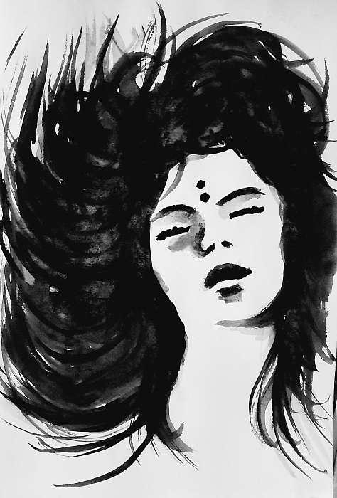 Női portré akvarell, Partner Kollekció