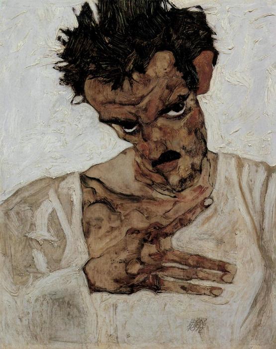 Egon Schiele önarcképe, lehajtott fejjel, Egon Schiele