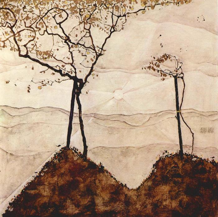 Őszi napsütés fákkal, Egon Schiele