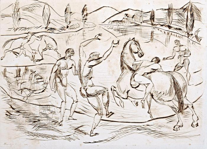 Lovasok a vízparton (rézkarc), Kernstok Károly