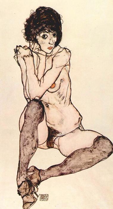 Ülő női akt, Egon Schiele