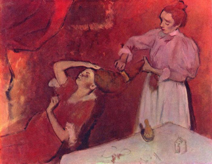 Hajfésülés, Edgar Degas