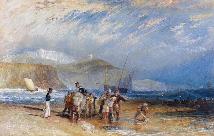 Folkestone kikötéje és a Doveri fehér sziklák, William Turner